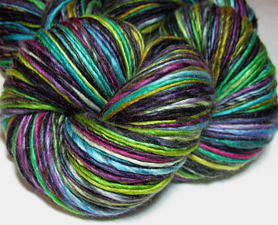 Handspun Yarn Gently Thick and Thin Single Merino and Silk 'After Party'
