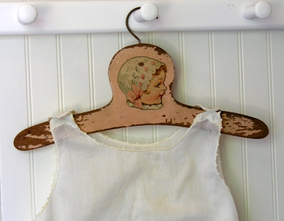 Vintage Baby Clothes Hanger Pink Chippy Paint Painted Wood