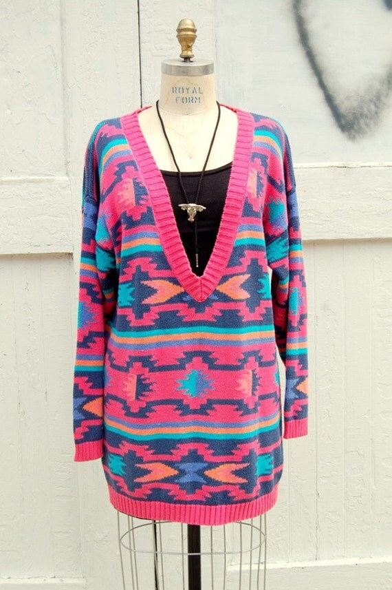Southwestern motif deep V sweaterdress 1990s