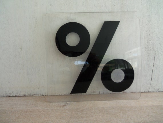 Vintage Plexiglass Percentage Sign
