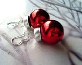 Shiny Red Christmas Ornaments - Earrings