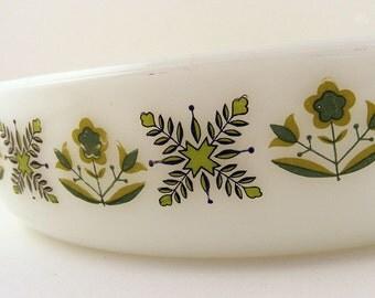 Vintage Anchor Hocking Fire King Milk Glass Casserole Dish Meadow Green Pattern 429