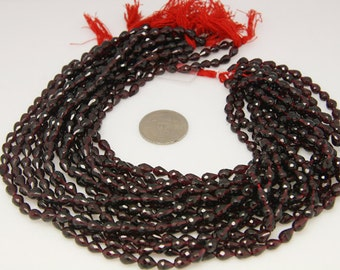 1strand - natural garnet faceted drop stright drilled sized 5 by 7mm