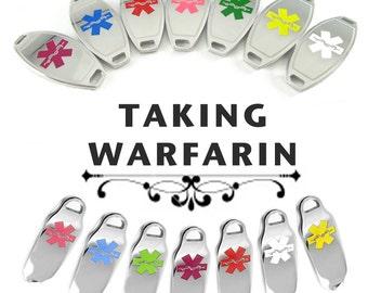 TAKING WARFARIN Alert Medical ID Pre-Engraved, for Beaded Bracelets