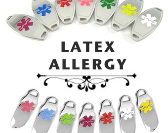 LATEX ALLERGY Medical ID plate Pre-Engraved, for Stylish  Beaded Bracelets