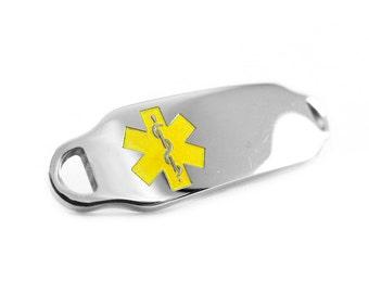 Yellow Medical ID Plate for Beaded Bracelets Custom ENGRAVED FREE - i2C