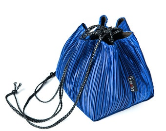 Vegan handbag BLUE lightweight evening bag in small size - Japanese bag