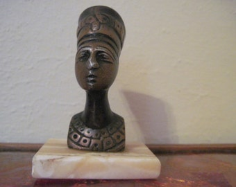 Queen Nefertiti - vintage Egyptian Bust on Marble  Base - figurine or paperweight for the office, study, bookshelf
