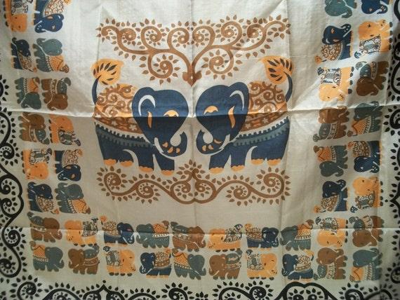 Vintage Thai Silk Scarf with Elephants, 100 Percent Silk,  Large, Beautiful Colors