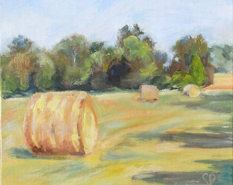 SALE- Round Hay Bales, hay, Landscape Plein Air Painting, Tennessee landscape, Farm landscape, farm art, Original oil, wall decor, landscape