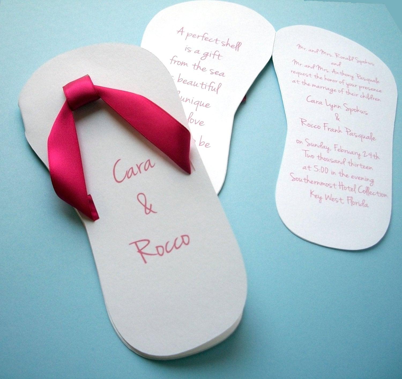 Flip Flop Wedding Invitation By Bellybeancards On Etsy