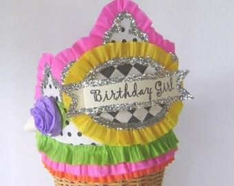 Birthday Party Hat, BirthdayParty Crown, Birthday Girl Hat, Customized birthday hat