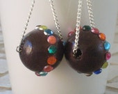 Disco Ball Wood Earrings