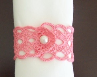 crochet  napkin rings 2 pieces pink