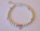 Flower Girl Gift Swarovski Initial Pearl Bracelet Sterling Silver Charm Light Rose Sangria Fuchsia Purple Teal Pink Crystal Ivory Cream B071