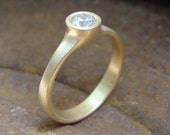 Diamond Engagement Ring - Gold Engagement Ring - Solitaire Ring - Handmade Engagement Ring