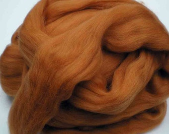 "Ashland Bay Solid Colored Merino for Spinning or Felting ""Pumpkin""  4 oz."