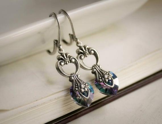 20% OFF SALE o Mariah Aged Silver and Swarovski Earrings - Purple - Aqua - Pink - Rainbow - Victorian - Nouveau - Summer - Wedding - Bridal