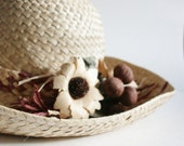 Vintage RUSTIC Straw Hat - Earth Tones