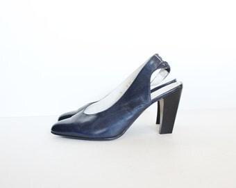 Vintage 80s ROBERT CLERGERIE Designer Stacked Heels - Navy Blue Leather - Women 6M - Slingback