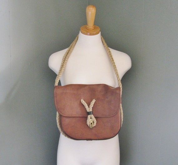 Vintage 80s NAUTICAL Brown Leather Purse