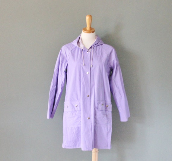 Vintage 80s Purple Heart Pattern Rain Coat - Reversible - Women Medium