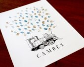 Guest book thumbprint Train steam engine, great for birthday parties (inks available in our shop separately)