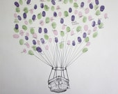 Hot Air Balloon Basket Design, The original guest book thumbprint balloon art (inks available separately)