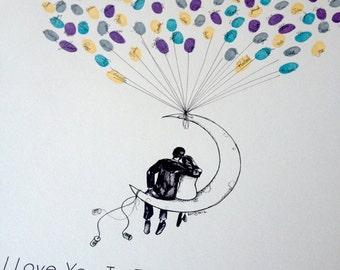 Moon Balloon Couple, The original guestbook thumbprint balloon, Fingerprint Guest Book, Alternative Guest Book (inks available separately)