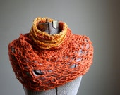 mesh orange burnt orange and gold capelet cowl hood