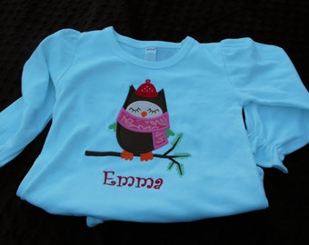 Personalized Christmas Owl Shirt