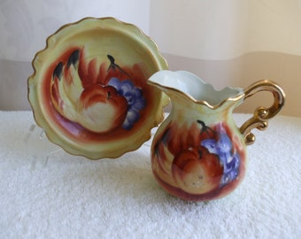 Small Wash Basin and Pitcher,  Handpainted Fruit,  Gold trim. ,