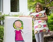 Turning Paintings into Pillows: One (x1) CUSTOM Decorative Pillow made from your child's artwork, Size SMALL or MEDIUM