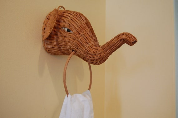 Adorable Wicker Elephant towel holder Cottage Style at Retro Daisy Girl