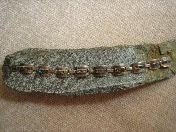 Vintage Mexican Sterling Silver & Mother of Pearl Modernist Bracelet  .....2239