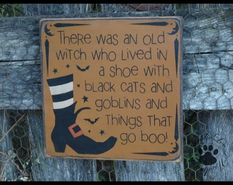 Witch In A Shoe, Primitive, Folkart, Halloween, Pine wood sign.