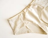 Ivory Satin & Lace Cheeky Panties Made to Order