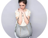 Soft Leather Purse  - OPELLE Ballet Bag - Large Size in Dove Pebbled Leather New