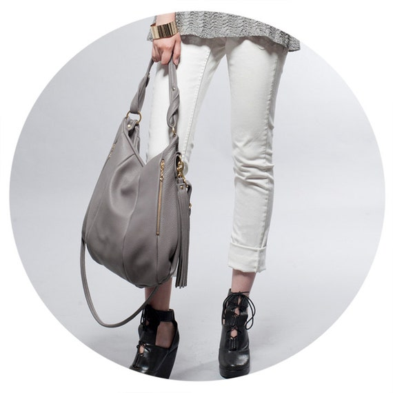 SALE Gray Leather handbag - OPELLE Lotus Bag - Soft Pebbled Leather with Zipper Pockets in Dove