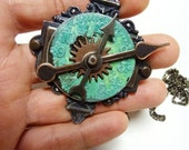 FREE SHIPPING verdigris patina copper moving clock steampunk necklace OOAK