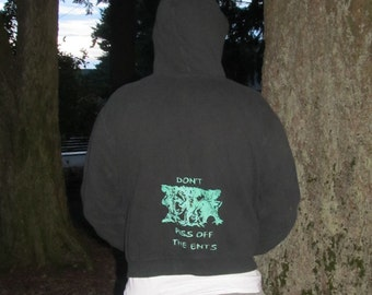 Hoodie - Don't Piss off the Ents, Green on Black, Small - shiny unisex zip front zipper pockets drawstring hood sweatshirt hooded sweater