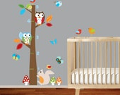 Growth Chart decal Childrens wall decal vinyl wall decal growth chart with owls and birds