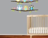 children vinyl decal - owl on a branch - owls birds branch decal sticker girl baby