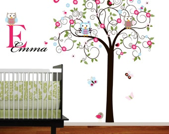 Swirl Tree Vinyl Wall Decal set with leaves,flowers birds,owls vinyl wall decal sticker nursery girls