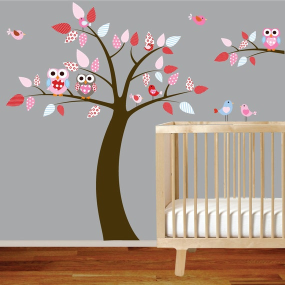 Vinyl Wall Decal Stickers Owl Tree Set Nursery Girl Baby Pattern Leaves and Owls
