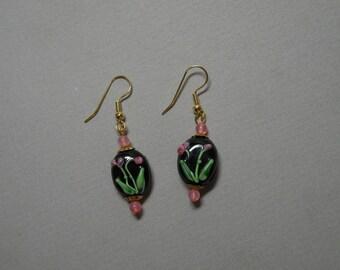 Lampworked Rose Earrings