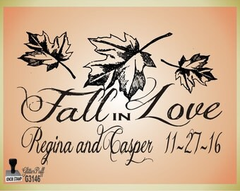 Fall in Love  - Fall Wedding Theme Custom Rubber Stamp - (G3146) - Autumn Theme Custom Stamp for Napkins Favors Treat Bags or Muslin Sacks