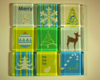 Christmas Decorations Fridge Magnets, Set of 9 Holiday Refrigerator Magnets with Storage Tin