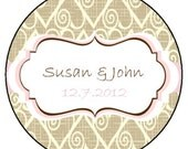Burlap Hearts Personalized Candle Favor  -4 oz Soy Wax Candle Jar