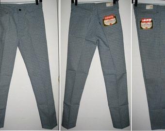 Vintage Deadstock 1960's LEVI'S Big E Peg Leg Tapered Plaid Sta Prest Jeans Pants Ivy League Slacks 29X29 Floods NOS